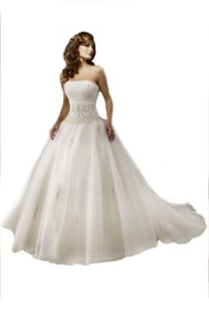 Ball Gown Strapless Court Train Wedding Dress With Draped/Applique Satin/ Tulle at Amazon Women's Clothing store: