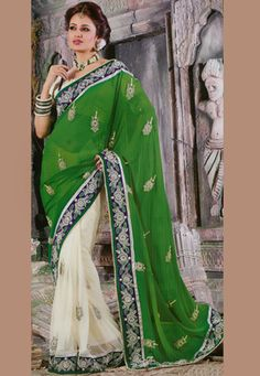 Green and Cream Faux Georgette and Net Saree with Blouse