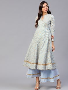 Buy Bhama Couture Women Blue & Golden Printed Kurta With Palazzos - - Apparel for Women from Bhama Couture at Rs. Salwar Designs, Simple Kurti Designs, Kurta Designs Women, Kurti Designs Party Wear, Latest Kurta Designs, Printed Kurti Designs, Dress Neck Designs, Designs For Dresses, Blouse Designs