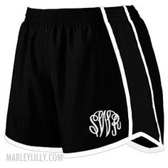 Monogrammed Black and White Running Shorts