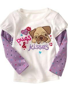 18M~6T cotton round neck long sleeve girls tees,children t shirts, pugs &…