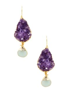 Nata Amethyst Cluster Drop Earrings from Natural Stones Feat. Janna Conner on Gilt