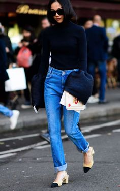 chanel slingbacks-I LOVE these shoes! All Jeans, Sweaters And Jeans, Street Style, Street Chic, Minimal Outfit, Boyfriend Jeans, Autumn Winter Fashion, Cool Outfits, Women Wear