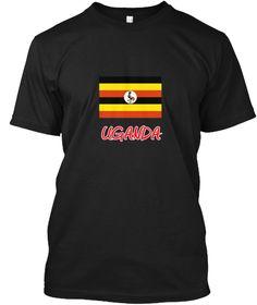Uganda Flag Artistic Red Design Black T-Shirt Front