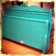 Turquoise Wood Headboard with Footboard... I want this!