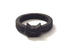 Black Cat Ring in Matte Black Steel | 3D Printed Textured Metal | Cat Lovers Gifts | Crazy Cat Lady