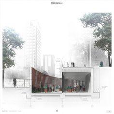 ELEMENTAL, Tercer Lugar en concurso de diseño del Parque Museo Humano San Borja / Santiago,Detalle: corte