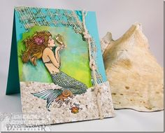 Such a beautiful #cre8time mermaid card by Lynn Mercurio. #stampendous #DreamweaverStencils