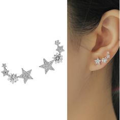 CIShop Star Zircon Diamond Stud Earrings Ear Wire Ear Cuff Earring... (€20) ❤ liked on Polyvore featuring jewelry, earrings, diamond jewellery, earrings jewelry, zircon stud earrings, diamond earring jewelry and diamond ear cuff