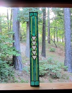 Handmade Teal Sparkling STAINED GLASS Panel Gift the perfect addition to our home or cottage decor art
