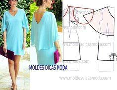 "86 Likes, 2 Comments - Fátima Carvalho Lopes (@moldes_dicas_moda) on Instagram: ""http://moldesdicasmoda.com/molde-vestido-capa-218/ #moldes #moda #modafeminina #blue #vestidos…"""