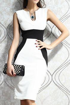 White Black Sleeveless Slim Bodycon Dress 12.67