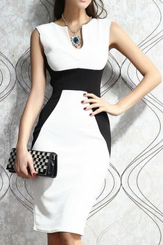 White Black Notched Collar Two Tone Party Dress