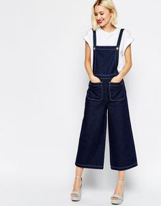 ASOS Denim Dungaree with Wide Leg and Contrast Stitching
