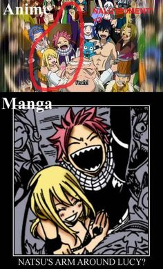 Natsu's arm around Lucy ?! Manga and Anime <3 OHMYGHAD!. Heart Heart <3 <3 And Juvia❤️