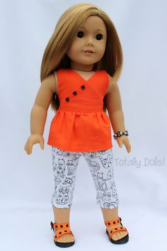 """""""Tangy Tangerine"""" Halter Top & Capris with Shoes & Jewelry - $19.99 American Girl Doll Clothing http://www.totallydolls.com/apps/webstore/products/show/5769968"""