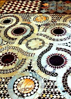 The mosaic floor of Farfa Abbey in Farfa - Handmade tiles can be colour coordinated and customized re. shape, texture, pattern, etc. by ceramic design studios Mosaic Art, Mosaic Glass, Mosaic Tiles, Mosaic Floors, Mosaics, Tiling, Tile Patterns, Textures Patterns, Print Patterns
