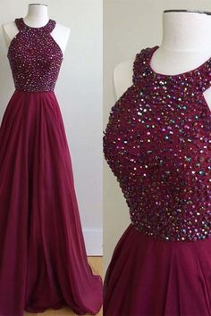 Cute wine red chiffon prom dress for teens