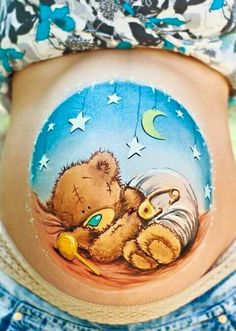 belly painting teddy bear by Olga Meleca so sweet! Too bad I'm too ticklish to sit through this Bump Painting, Pregnant Belly Painting, Belly Art, Belly Casting, Face Painting Designs, Painting Tutorials, Baby Belly, Pregnancy Belly, Pregnancy Photos
