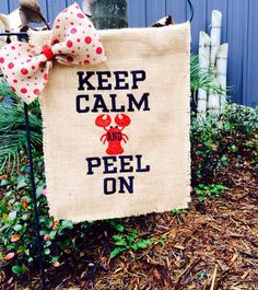 Keep Calm and Peel On Crawfish Monogrammed Burlap by NolaChicks