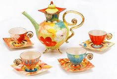 Modern Floral Art Tea Set http://www.plaidpenguin.com