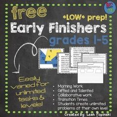FREE Downloads: This free download for math early finishers and gifted is perfect! It's easily differentiated for any computation, any level, and works for rational and irrational numbers. It is super easy to prepare. After a few examples, students create their own problems giving you an endless supply of new problems for your early finishers and gifted - with no prep on your part!