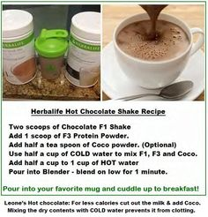 less calories cut out the milk and add half a teaspoon of Coco, mixing the dry contents with COLD water prevents it from clotting. Herbalife Meal Plan, Herbalife Protein, Herbalife Shake Recipes, Protein Shake Recipes, Herbalife Nutrition, Smoothie Recipes, Protein Shakes, Smoothies, Nutrition Club