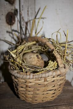 Prim Basket...stuffed with grass & eggs.