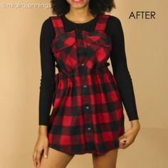 Here's how to turn a large long sleeve flannel shirt into a cute DIY overall dress with NO SEWING! ✂️ Here's how to turn a large long sleeve flannel shirt into a cute DIY overall dress with NO SEWING! Diy Clothes Refashion, Shirt Refashion, Diy Shirt, Diy Dress, Dress Outfits, Fashion Outfits, Dress Fashion, Fashion Ideas, No Sew Dress