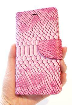 "For Apple iPhone 6 Plus 5.5"" Pastel Pink Crocodile Embossed Leather Flip Wallet Cellphone Case by Yunikuna"