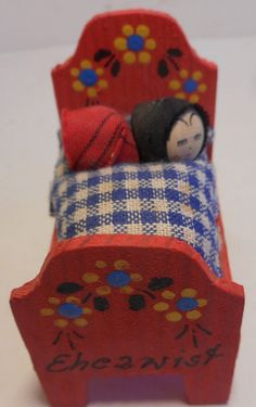 Folk Art Dollhouse Miniature Painted Bed Children Signed Ehezwist Germany ?