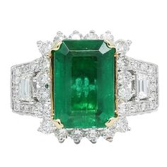 6.65 Carat Emerald Diamond Two Color Gold Ring