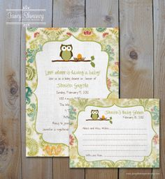Owl Baby Shower Invitation and Personalized Advice Card, Gender Neutral Owl and Colorful Damask, Printable Digital files