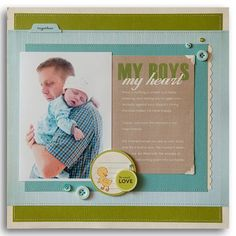 #papercraft #scrapbook #layout.  My Boys,My Heart...Boy Scrapbooking Ideas