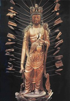 Japanese National Treasure, A standing statue of 11-faced Kannon Bosatsu 十一面観音菩薩立像(法華寺)