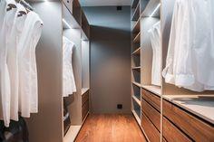 Custom designed walk-in wardrobe by Kielland. Warm greige corpus, drawers in walnut. Walk In Wardrobe, Wardrobe Design, House Built, Drawers, Custom Design, Warm, Building, Projects, Closet