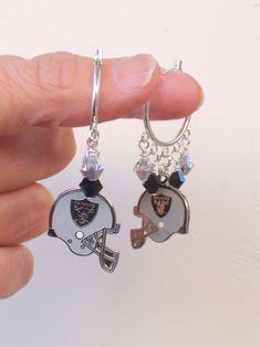Oakland Raiders Earrings, Raiders Jewelry, Silver and Black Crystal Hoop Earrings, Pro Football Raiders Bling Accessory Fanwear by scbeachbling on Etsy