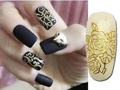 Happylife12 Happylife12 Women Unique Beauty One Sheet Golden Nail Stickers Adesivos Decals Manicure Nail Art Decoration -- You can get additional details at the image link.