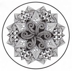 Another fun zentangle mandala Mandala Coloring, Colouring Pages, Adult Coloring Pages, Coloring Books, Zentangle Drawings, Doodles Zentangles, Zentangle Patterns, Zen Doodle, Doodle Art