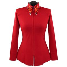 Red Dallas-Paris Shirt (M) Our newest style, from the Dallas-Paris collection in rich lipstick red. Heavily jeweled collar, faux cuff stitching and a longer-tuck-in length. Tailored red body, designed to be fitted. Will look amazing in all events. African Dresses For Women, African Fashion Dresses, Western Show Shirts, Paris Shirt, Western Pleasure, Ankara Styles, Tee Shirts, Plus Size, Couture