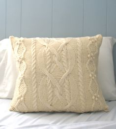 Wool Cable Knit Pillow Cover by Precious Knits on Scoutmob