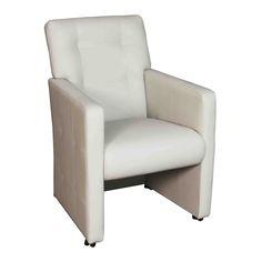 Royale eetkamerstoelen met wieltjes en armleuningen in goede kwaliteit kunstleer. Deze stoel heeft wieltjes en een handgreep in de rugleuning. Verkrijgbaar in 5 kleuren. Goed zitcomfort voor heerlijk tafelen! Deze stoel past bij ieder interieur stijl.