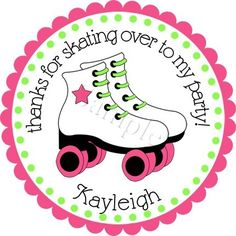 Roller Skate Bash.  Personalized stickers by partyINK.
