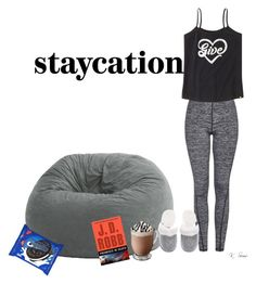 """Staycation"" by ksims-1 ❤ liked on Polyvore featuring Topshop, Comfort Research, Life is good, Victoria's Secret and staycation"