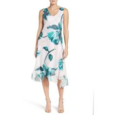 Women's Komarov Chiffon A-Line Dress ($348) ❤ liked on Polyvore featuring dresses, emerald spring, a line chiffon dress, floral dresses, white dress, white chiffon cocktail dress and a line dress
