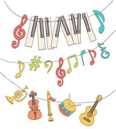 Illustration of cute musical signs, notes, piano keys, children instruments hanged on a bunting. cartoon vector vector art, clipart and stock vectors. Music Notes Art, Music Artwork, Art Music, Music Images, Music Pictures, Music Illustration, Illustrations, Children's Instruments, Music Notes Decorations