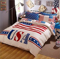 American Flag Bedding Set 6 Piece Twin Comforter With Red
