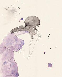 Tender To The Blues 5x7 by emmaleonardart on Etsy