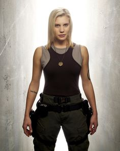 Katee Sackhoff as Starbuck on Battlestar Galactica