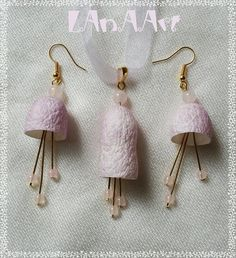 Love Song Fairies - Pale VIOLET SILK JEWELRY set - earrings & pendant of Rose Quartz round beads, natural mulberry silk cocoons, golden wire